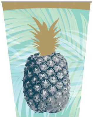 Tropical Gold Foil Party Cups pk8