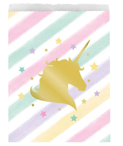 Unicorn Sparkle Gold Foil Treat Bags