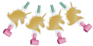 Unicorn Sparkle Gold Foil Party Blowers