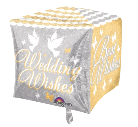 Wedding Wishes Cubez Foil Balloon