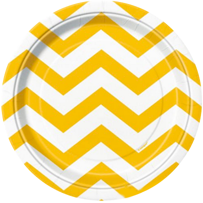 Yellow Chevron Lunch Plates