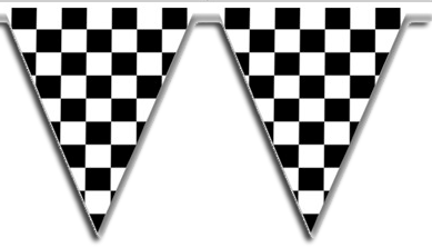Black Check racing Party Flags