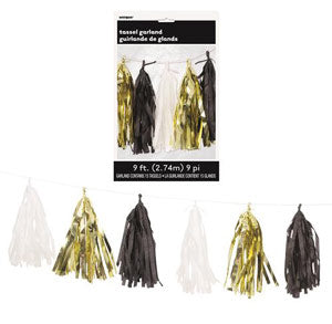 Black Gold and White Tassel Garland