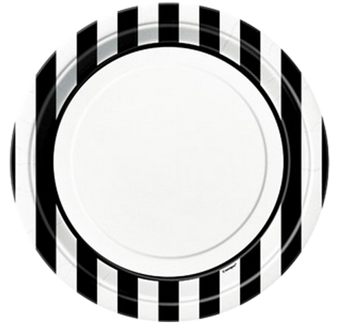 Black Striped Dinner Plates