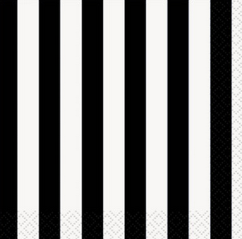 Black Striped Lunch Napkins