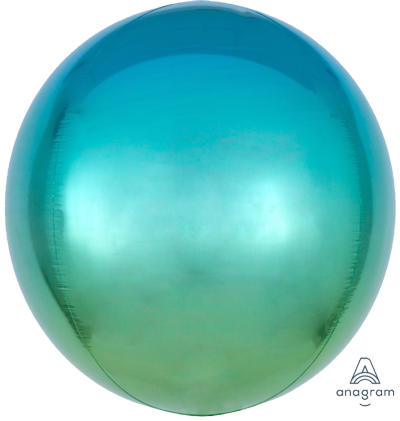 BLue Green Ombre Orbz Foil Balloon
