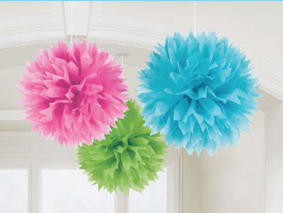 Purple Fluffy Tissue Ball Decorations, Party