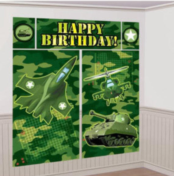 Camo Army Wall Scene Setter Decoration NZ