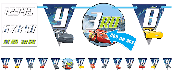 Cars 3 Happy Birthday 'Add an age' Banner
