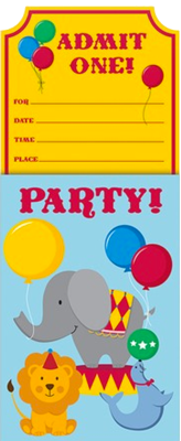 Circus Time Party Invites for boys and girls