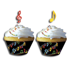 Dancing Music Notes Cupcake Wrappers, Disco theme