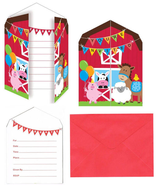 Farmyard Fun Invitations 8pck