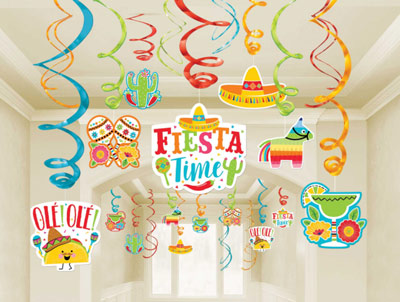 Fiesta Fun Swirl Decorations Value pack NZ