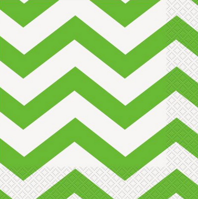 Green Chevron Lunch Napkins