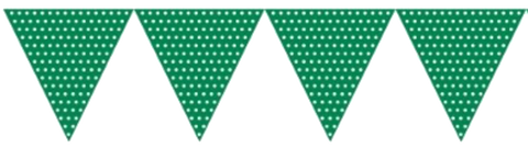 Green and white Polkadot Bunting Flags