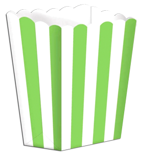 green striped popcorn boxes