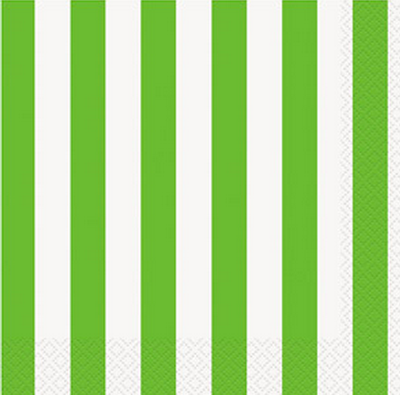 Green Striped Lunch Napkins