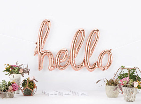 Hello Rose Gold Script Foil Balloon