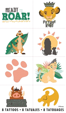 Lion King Party Tattoos pk8