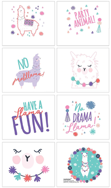 Llama temporary party tattoos pk 8