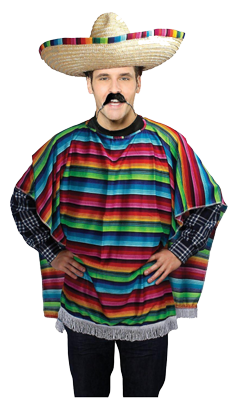 Mexican Fiesta Multi-coloured Poncho Costume
