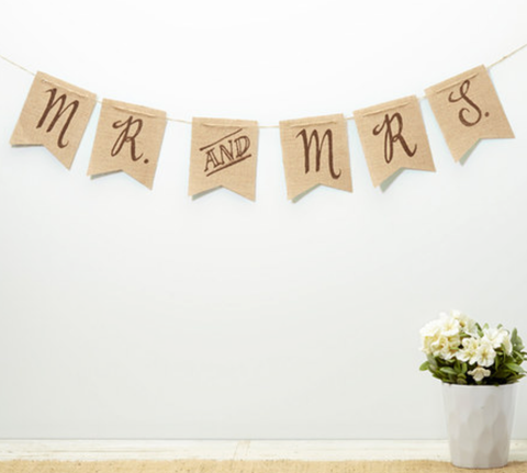 Mr and Mrs Rustic Wedding Banner