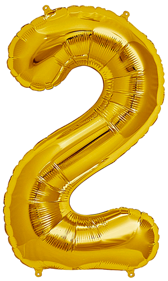 Number Two 2 Jumbo Gold Foil Balloon