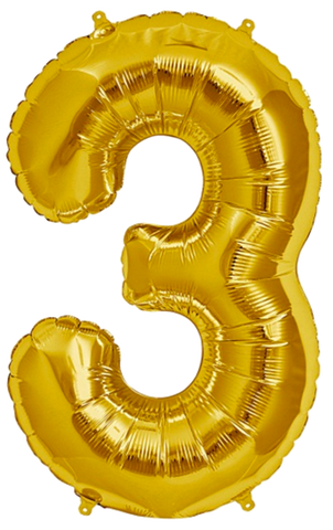 Number Three 3 Jumbo Gold Foil Balloon