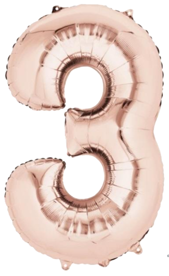 Number 3 Jumbo Rose Gold Foil Balloon