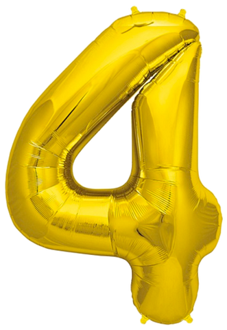 Number Four 4 Jumbo Gold Foil Balloon