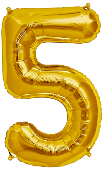 Number Five 5 Jumbo Gold Foil Balloon