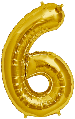Number Six 6 Jumbo Gold Foil Balloon