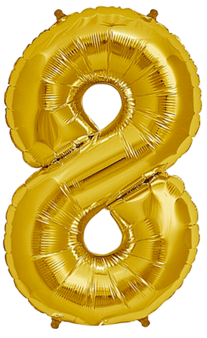 Number Eight 8 Jumbo Gold Foil Balloon