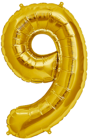 Number Nine 9 Jumbo Gold Foil Balloon