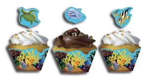 Ocean Party Cupcake Wrappers With Pick