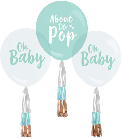Oh Baby Party Balloons with Tassels - Baby SHower