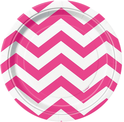 Pink Chevron Lunch Plates
