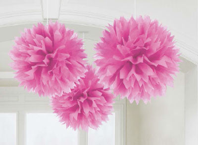 Pink Fluffy Pom Pom Decorations 3pk
