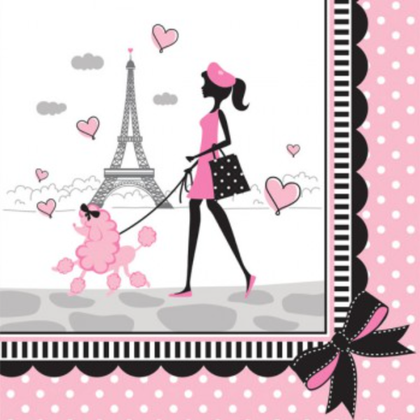 Pink Paris Party Lunch Napkins