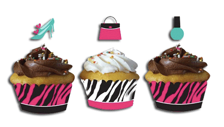 Pink Zebra Boutique Cup Cake Wrappers and Picks