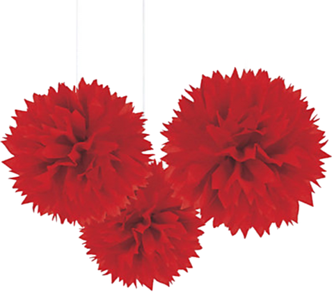 Red Fluffy Pom Pom Decorations 3pk