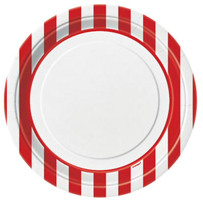 Red Striped Dinner Plates