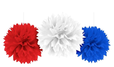 Blue, Red & White Fluffy Decorations pk3