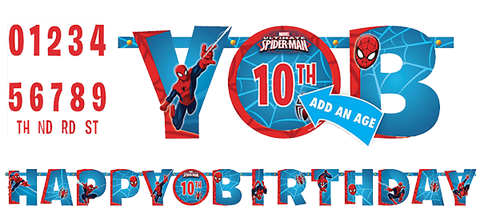 Spiderman Happy Birthday Banner