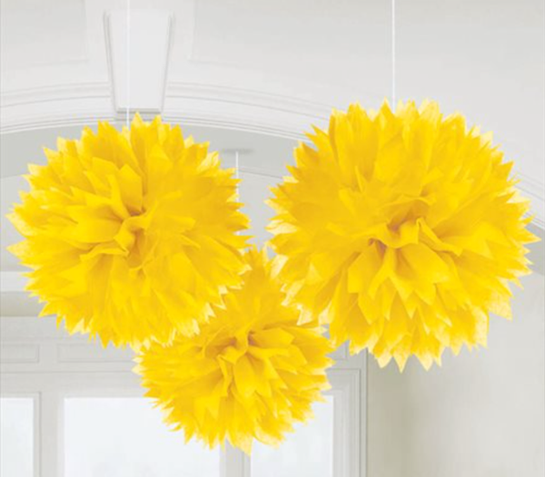 Yellow Pom Pom Decorations 3pk