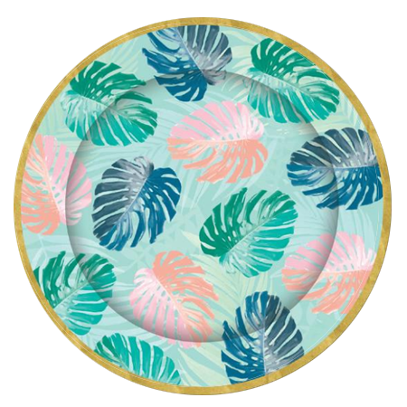 Tropical Gold Foil Party Plates pk8