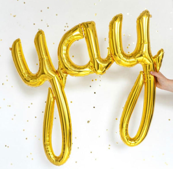 Yay Gold Script Foil Balloon