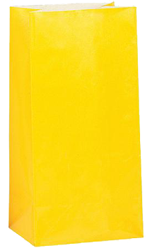 Yellow Paper Party Bags pk10