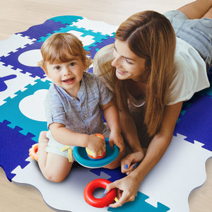 Non-Toxic Foam Play Mat - Pink Purple & White