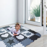 Load image into Gallery viewer, Non-Toxic Foam Play Mat - White & Grey